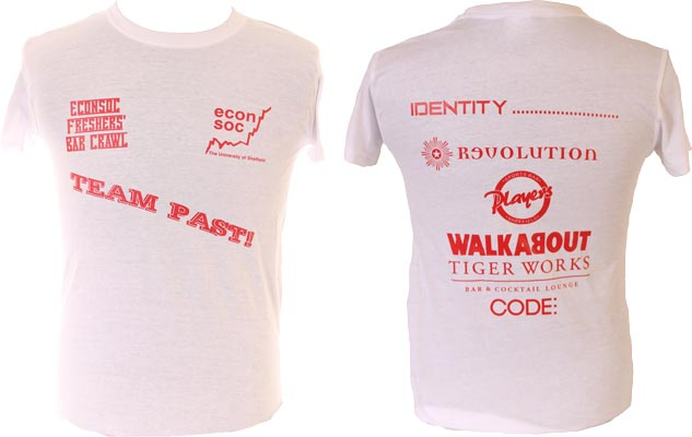 University of Sheffield Econsoc Bar Crawl T-Shirts Red